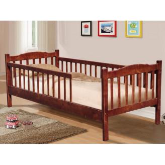 Детская кровать Юниор 2 забора 90*200 Темный орех Микс Мебель