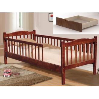 Детская кровать Юниор 2 забора с ящиками 90*200 Темный орех Микс Мебель