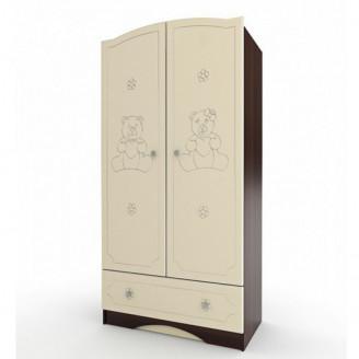 Шкаф платяной Мишка Ваниль + орех темный Вальтер