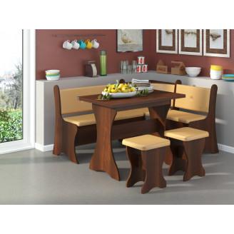Кухонный уголок Маркиз с раскладным столом  +  2 табурета Пехотин